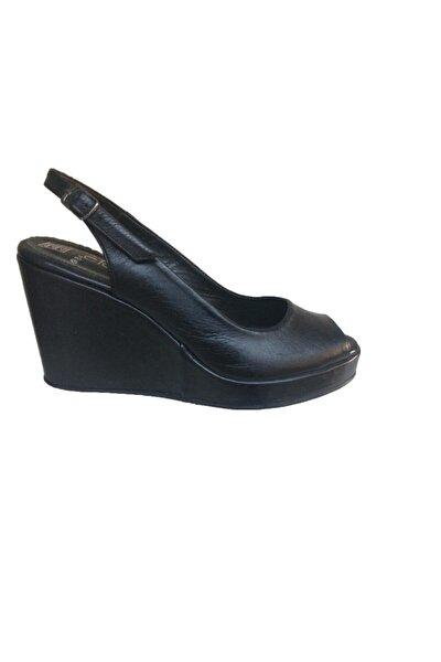 Siyah Hakiki Deri Dolgu Topuk Rahat Ayakkabı -küçük & Büyük Numaralar
