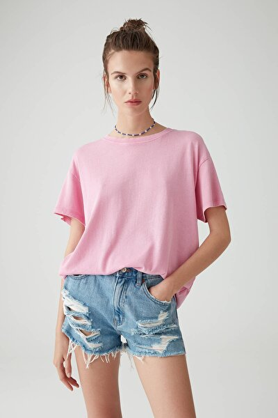 Kadın Pembe Soluk Efektli Basic Oversize T-Shirt 05236365