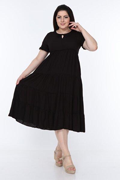 Kadın Siyah  Kruvaze Kol Diz Altı Midi Büyük Beden Fırfırlı Elbise