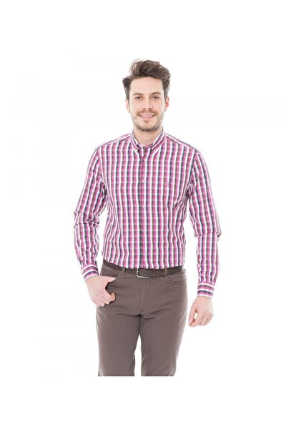 Erkek Slim Fit Casual Gömlek Fuşya