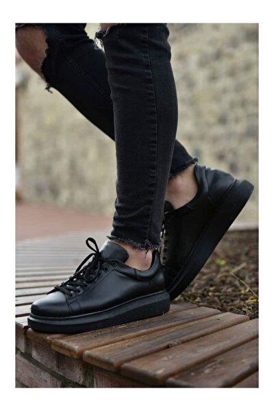 Erkek Siyah Yüksek Taban 5 cm Gizli Topuk  Ayakkabı Myy9400s