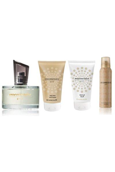 Memories Gold Edt 60 ml Kadın Parfüm+150 ml Erkek Deodorant+Vucüt Losyonu 150 ml + Duş Jeli 150 ml
