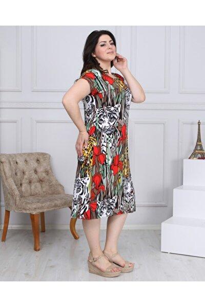 Renkli Etnik Desen Büyük Beden Elbise