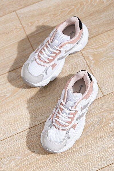 Kadın Spor Ayakkabı Beyaz Pudra Tb246