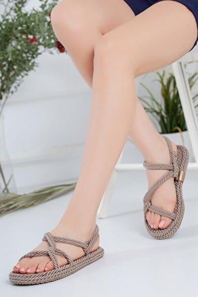 Kadın Felicia Ortopedik Vizon Halat Sandalet