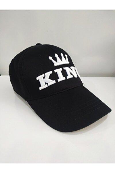 King Nakış Baskılı Siyah Spor Şapka Ayarlanabilir Cırtlı