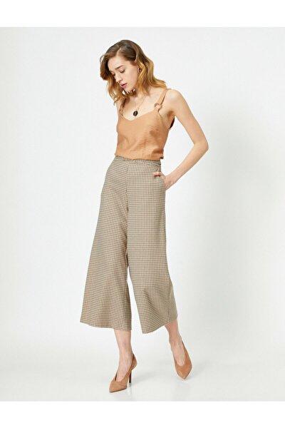 Kadın Geniş Paça Ekoseli Pantolon