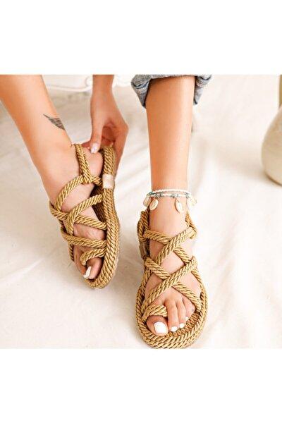 Kadın Altın Hasır Sandalet