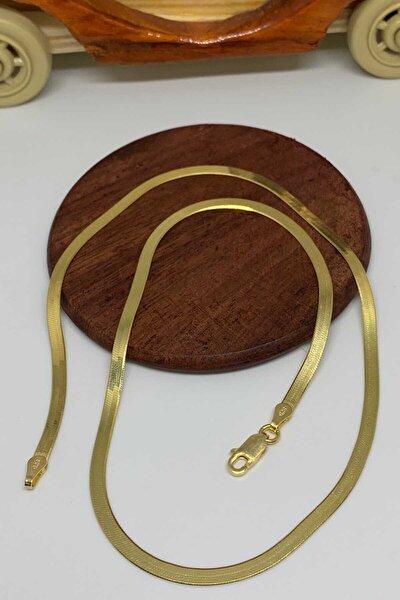 İtalyan Ezme Altın Kaplama Gümüş Zincir Kolye