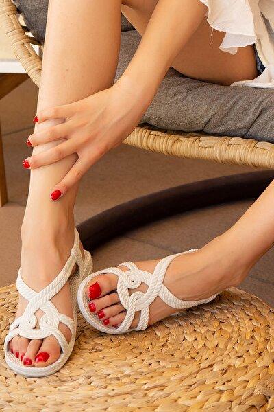 Beyaz Kadın Sandalet 9999-19-100244