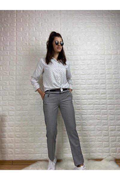Klasik Ekose Örme Yandan Siyah Şeritli Kemerli Pantalon