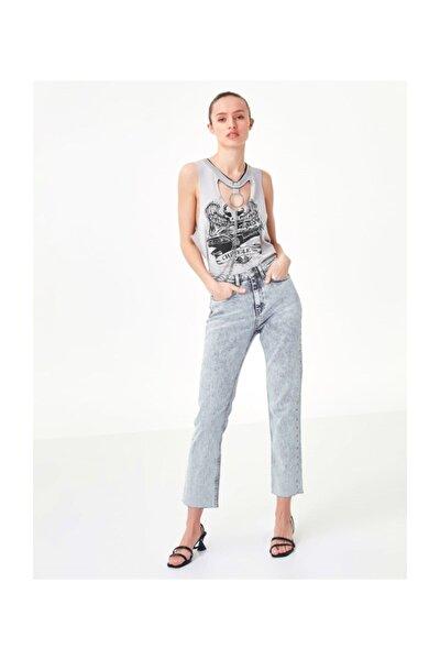 Kadın Taş Cut Out Detaylı Tshirt TS1200070208030
