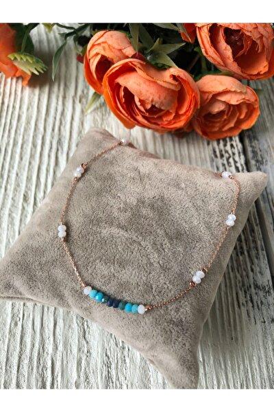 Kadın Gümüş Rose Zincirli Kristal Tasarım Halhal