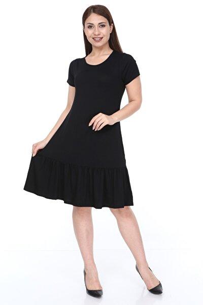 Kısa Kol Fırfırlı Elbise