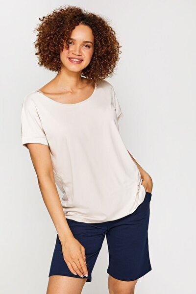 Kadın Taş Yuvarlak Yaka Düşük Kollu T-Shirt 60020 U60020