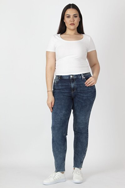 Kadın Lacivert Beli Taş İşli Yıkama Efektli  Kot Pantolon 65N16360