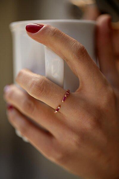 Kadın Yakut Taşlı Rose Gümüş Minimal Yüzük İZLASLVR00050