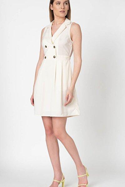 Kadın Ekru Düğme Detaylı Kruvaze Yaka Kolsuz Elbise 10227447 VMDESPINA