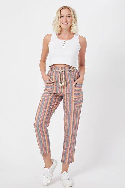 Kadın Turuncu Salaş Çizgili Keten Pantolon
