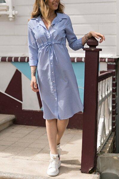 Çizgili Beli Bağcıklı Elbise 0YXK6-43349-12