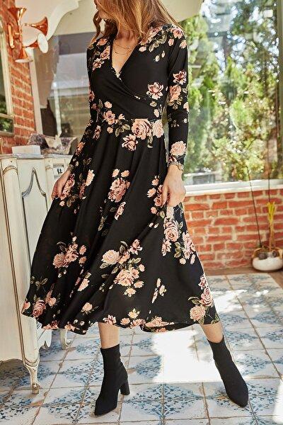 Çiçek Desenli Kruvaze Elbise 9YXK6-41809-02