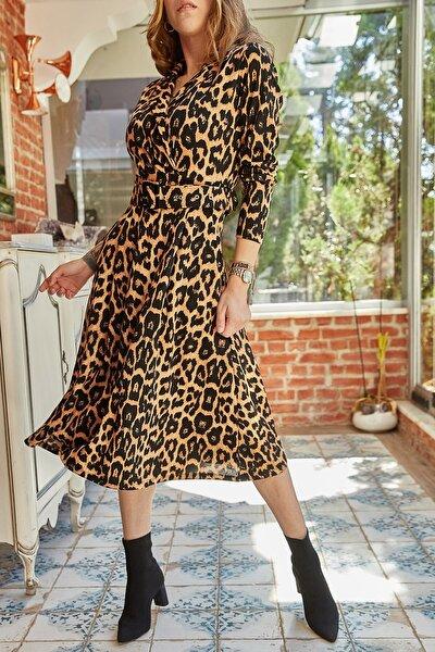 Kadın Kiremit Çift Cepli Kemerli Leopar Desenli Elbise 9yxk6-41805-16