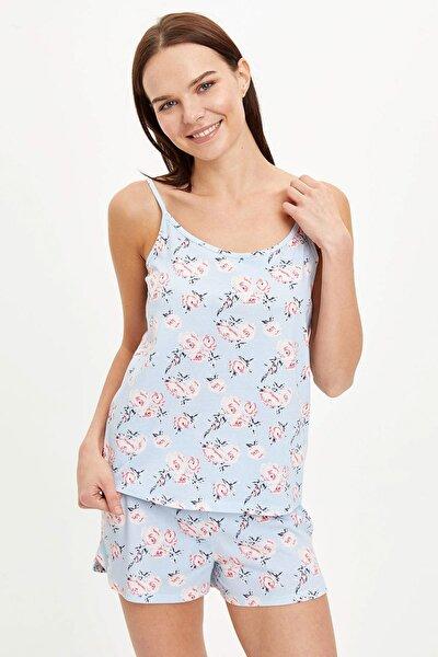 Kadın Mavi Askı Detaylı Çıçek Desenli Fiyonk Kurdeleleli Pijama Takımı R3814AZ.20SM.BE343