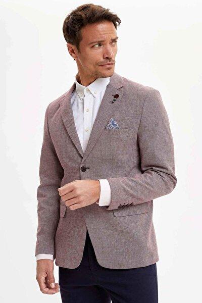 Erkek Bordo Modern Fit Blazer Ceket