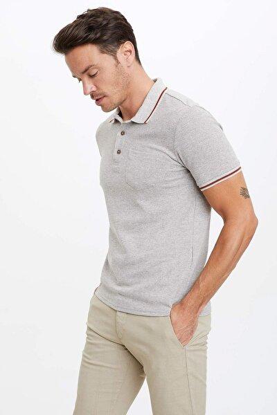 Erkek Bej Tek Cepli Slim Fit Polo T-Shirt