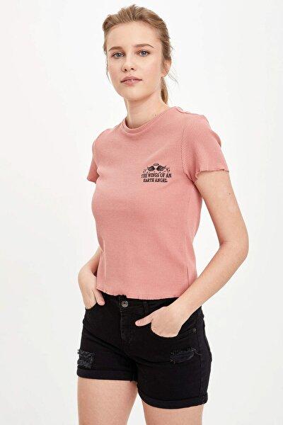 Kadın Bordo Yırtık Desenli Kısa Kollu T-Shirt N7312AZ.20SP.BR287