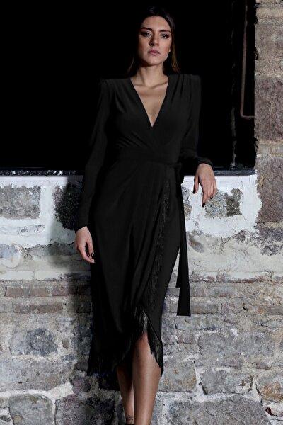 Püsküllü Siyah Kruvaze Elbise