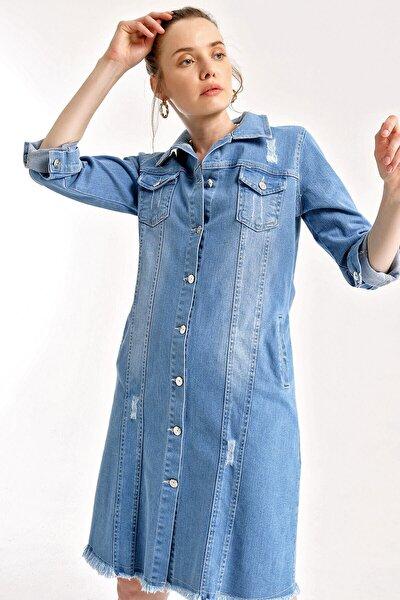 Kadın Mavi Uzun Kot Ceket 0614