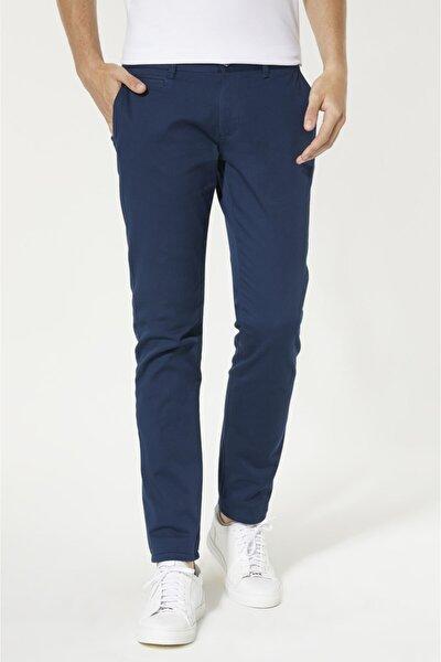 Erkek İndigo Yandan Cepli Basic Slim Fit Pantolon B003556