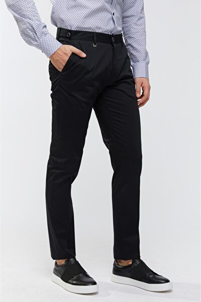 Erkek Siyah Yandan Cepli Düz Slim Fit Kumaş Pantolon A91Y3015
