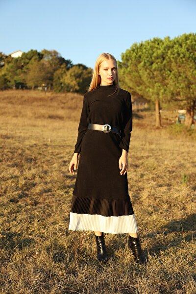 Kadın Siyah Eteği Piliseli Elbise