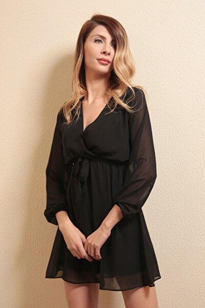 Kadın Siyah Kruvaze Yaka Bel Kuşaklı Elbise