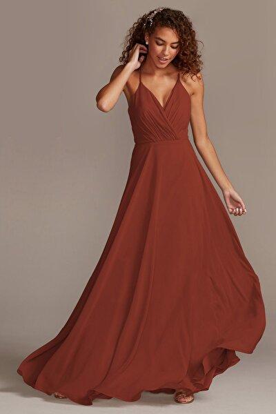 Kadın Tarçın Rengi İnce Askılı Kruvaze Yaka Şifon Elbise F20064