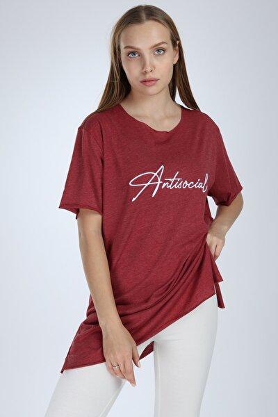 Kadın Bordo Yırtmaçlı Antisocial Nakışlı Oversize T-shirt