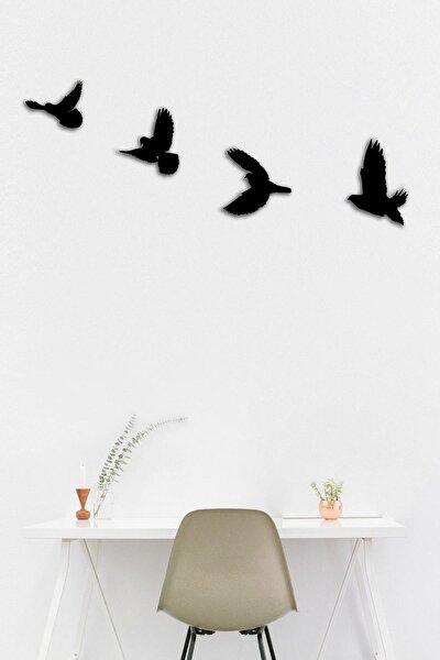 Ahşap Dörtlü Kuş Duvar Süsü Lazer Kesim Duvar Dekoru Art1233