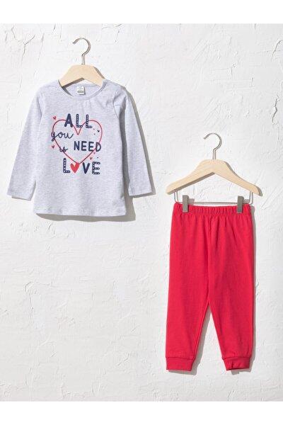 Kız Çocuk Gri Pijama Takım