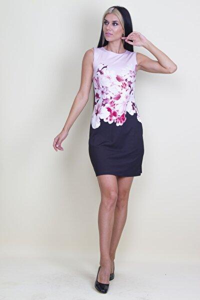 Kadın Mavi Kolsuz Çiçek Desenli Elbise