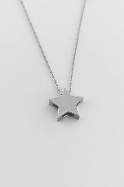 Gümüş Rodyumlu Üç Boyutlu Yıldız Kolye