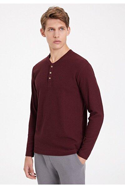 Erkek Bordo Uzun Kollu T Shirt