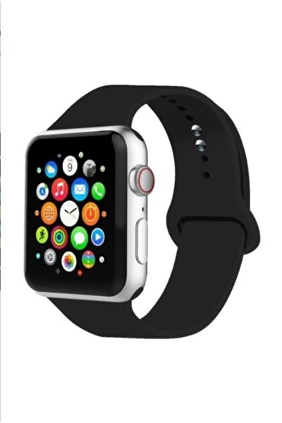 Apple Watch Kordon Siyah 2 3 4 5 6 Seri 42 mm Ve 44 Mm Silikon Kordon Kayış