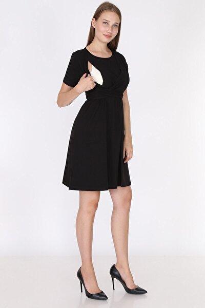 Kadın Siyah Fiyonklu Emzirmeye Uygun Şık Elbise