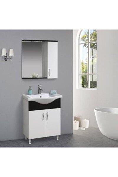 65 Cm Mdf Parlak Siyah Beyaz Banyo Dolabı