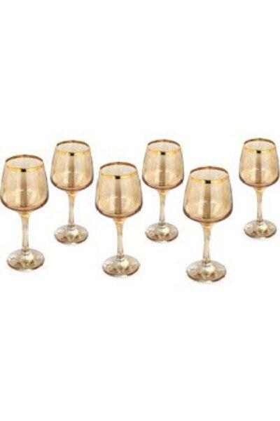 Lal Gold Bal Rengi 6 Adet Su Bardağı Ayaklı Bardak Takımı
