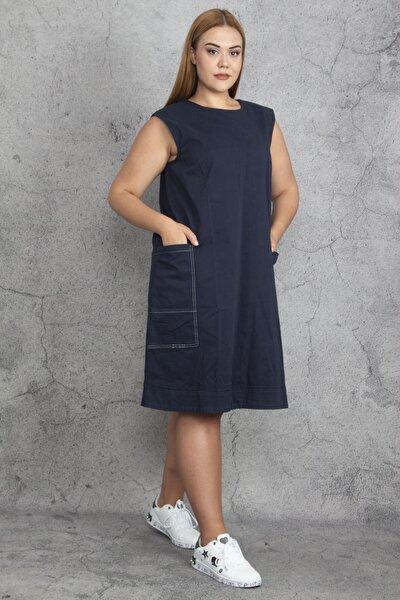 Kadın Lacivert Kontrast Dikiş Detaylı Cepli Gabardin Kumaş Elbise 65N19207