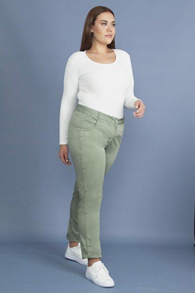 Kadın Yeşil Pamuk Saten Pantolon 65N19242
