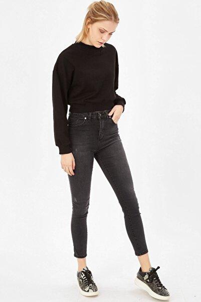 Kadın Füme Taşlanmış Lazerli Yüksek Bel Likralı Pantolon